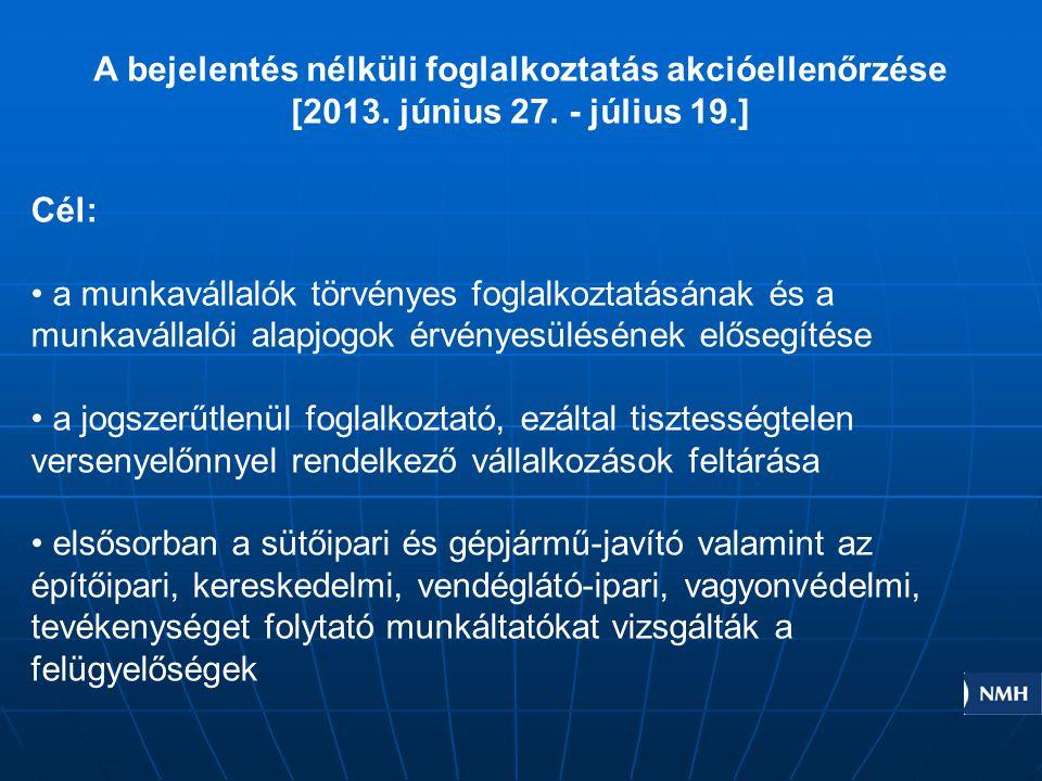 A bejelentés nélküli foglalkoztatás akcióellenőrzése [2013. június 27